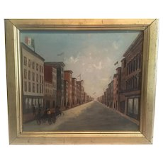 "American circa 1850-60 Folkart ""  International street scene celebration"""