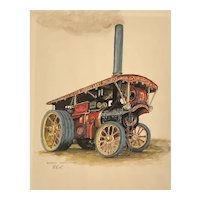 "Original 1920s sign watercolor ""Burrell General purpose Engine # 4053 called The Dreadnought"