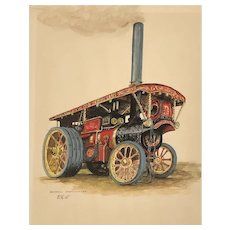 """Original 1920s sign watercolor """"Burrell General purpose Engine # 4053 called The Dreadnought"""