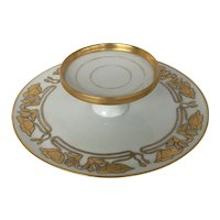 Circa 1890 ,Art nouveau RS Germany white and gold cocktail service plate/dish
