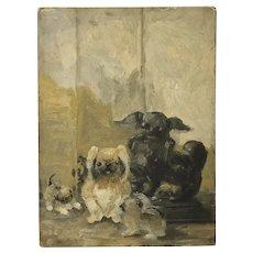 "Original oil painting ""study for pugs ""by Ida Lathrop (1859-1937) circa 1920"