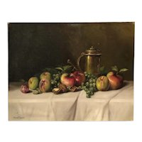 Tabletop still life painting by  listed Hungarian artist Romek Arpad circa 1920