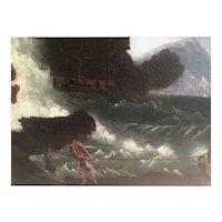 Harbor scene  in stormy seas by William Prior circa 1871
