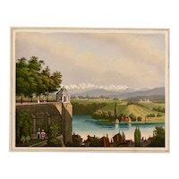 """Circa 1860s watercolor European """"City  view along the river"""""""