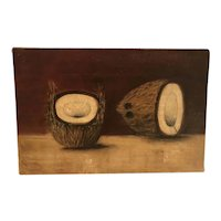 Rare southern 1870s American school Folkart painting of coconuts