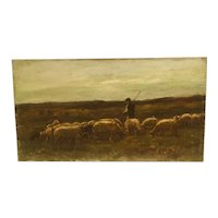 """A shepherd and his flock"" circa 1880 oil painting by well listed French artist Louis Eugene Lambert (1825-1900)"