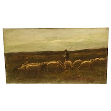 """""""A shepherd and his flock"""" circa 1880 oil painting by well listed French artist Louis Eugene Lambert (1825-1900)"""