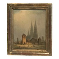 1860s French school cityscape painting Chartres Cathedral and Fort de Chartres