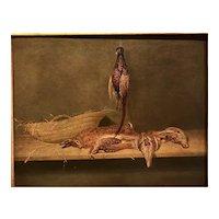 """Basket , birds,and rabbit ""Circa 1860 , by rare Finnish artist Karl Emmanuel Jansson  (1846 - 1874)"