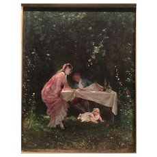 """""""Playing with the child """" by well Listed Italian artist Camillo I nnocenti (1871-1916)"""