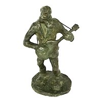 "Circa 1940s bronze  ""guitar player ""by listed Italian sculptor Gino Faita (1901-1990)"