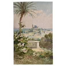 """19th century Mediterranean view signed French impressionist watercolor """"Cannes"""""""