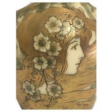 Teplitz amphora art nouveau vase maiden in the landscape Artist signed circa 1900