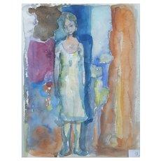 Murat Kaboulov Vintage Watercolor Portrait of a Woman