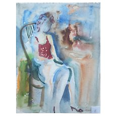 Murat Kaboulov Vintage Watercolor Portrait of a Woman Sitting