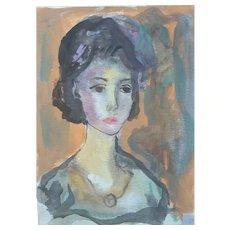 Murat Kaboulov Vintage Watercolor Portrait of a Lady