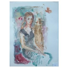 Murat Kaboulov Vintage Watercolor Portrait of a Lady Sitting