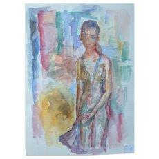 Murat Kaboulov Vintage Watercolor Girl Standing