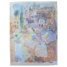 Murat Kaboulov Vintage Watercolor Beach Town