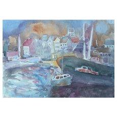 Murat Kaboulov Vintage Watercolor Boats