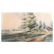Watercolor By Fremont Wood 1860-1937 San Francisco artist Landscape dated 1913