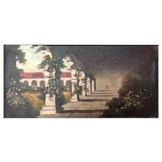 Painting of the beautiful San Juan Capistrano mission courtyard