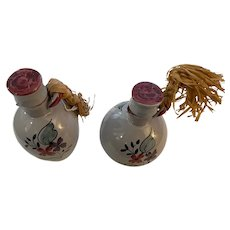 Vintage Oil and Vinegar Set from Norway with Corks and Braided Raffia, floral design