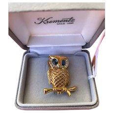 Vintage Goldfilled Krementz Rhinestone Sapphire & Clear Crystal Owl Pin, Circa 1970's