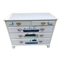 Vintage Nautical Theme White Painted Hardwood Dresser 2 over 3 Drawers