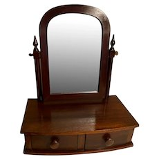 Antique Mahogany Mirror Stand (Shaving Mirror) with 2 Drawers, Swivel Mirror