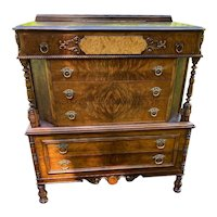 Vintage Walnut Dresser 6 Drawers with Burl Fronts Continental Furniture Co