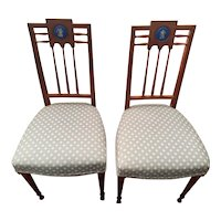 Vintage Pair Upholstered Neoclassical Style Side Chairs with Medallions circa 1910-40's