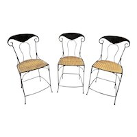 Vintage Group of 3 Counter/Patio Metal Rattan Seated Chairs