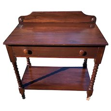 Vintage Dark Walnut wash stand with drawer and shelf