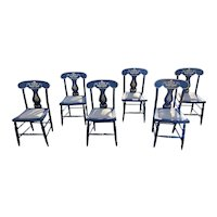 Antique Set of 6 Black Stenciled Slip Seat Country Chairs 1840-1880's
