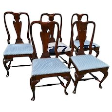 Vintage Set of 5 Cherry Wood Upholstered Queen Anne Style Dining Chairs circa 1950's