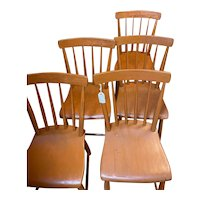 Vintage Set of 5 Pine/Maple Kitchen Chairs (Small)  Circa 1900-1940's
