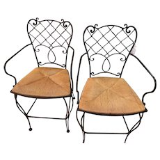 Vintage Pair of Metal Counter/Patio Rush Seated Metal Chairs, Seat Height 24 In