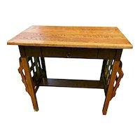 Vintage Mission Oak Arts and Crafts Golden Oak Desk with Side Baskets circa 1940-60's