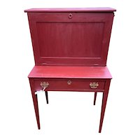 Vintage Red/Gray Drop Front Sloped Writing Desk circa 1890's-1930's Handmade