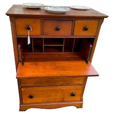 Vintage Maple Butlers Desk with 2 over 2 Drawers + Pull out Writing Desk Drawer
