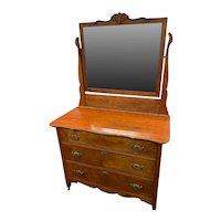 Vintage Maple Dresser 3 drawers with Hand Carved Mirror circa 1900-1940's