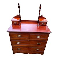 Antique 2 over 2 Cherry/Mahogany Dresser with Glove Boxes and Mirror Mount (No Mirror) circa 1890-1920's