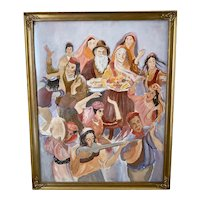 Vintage Framed with Glass Watercolor of Eastern European People Circa 1970's
