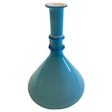 Vintage Case Art Glass Vase circa 1950-80's Mid Century Light Blue Color Hand Blown