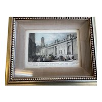 "Antique  Print ""East Front Bank of England , Tower Royal Exchange"" 1827-30"