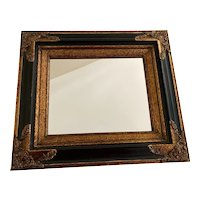 Vintage Rectangular Armalu Black and Gold Mirror Early 1900's