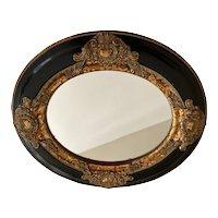 Vintage Oval/Round Armalu Black and Gold Mirror circa 1997
