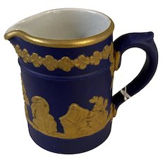 Vintage Dudson Brothers Pottery Hanley GB Cream Pitcher (Cobalt & Gold) Circa 1940's