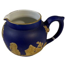 Vintage Dudson Brothers Cream Pitcher GB Hanley Pottery (Cobalt & Gold) Circa 1940's